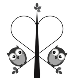 OWL TREE HEART vector image