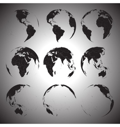 Set of black globe icons vector image