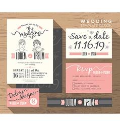 Trendy wedding invitation set design Template vector image