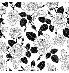 vintage black and white roses and leaves vector image