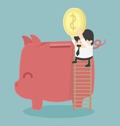 Businessman saving money vector image vector image