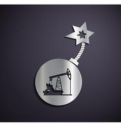 Flat metallic logo pump for oil vector image