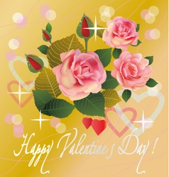 flowers postcard valentine s day vector image vector image