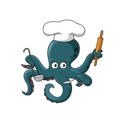 Octopus chef in white cook hat cartoon character vector image vector image