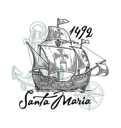 sailing ship floating on the sea waves caravel vector image
