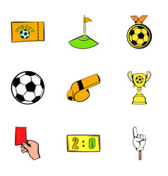 soccer field icons set cartoon style vector image vector image