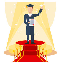 student on red carpet vector image vector image