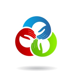 Teamwork Hands 3 Logo vector image vector image