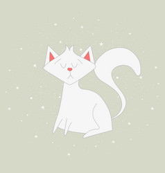 the white cat sits on the grey background vector image