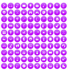 100 kids activity icons set purple vector image vector image