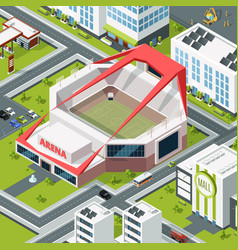 isometric urban landscape with modern building of vector image