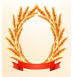 Ripe yellow wheat ears with red ribbons background vector image