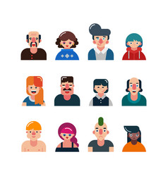 set of people flat avatars male and female faces vector image