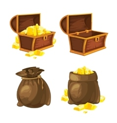 Set of two bags and chests with gold vector