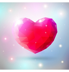 Shiny heart gem symbol vector image
