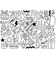 0081 hand drawn party doodle happy birthday vector