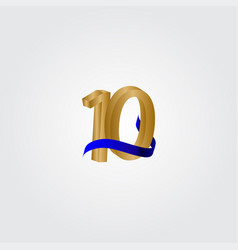 10 years anniversary celebration number gold vector