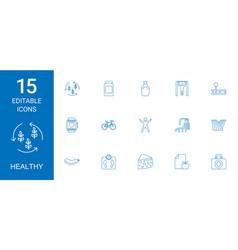 15 healthy icons vector
