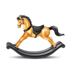 3d rocking horse golden marble on wood vector