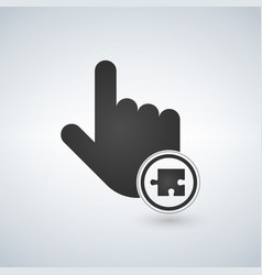 a pointing finger hand with a puzzle piece in vector image