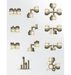 A set of brass and copper fittings vector