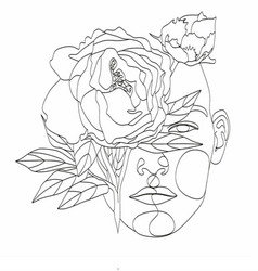 abstract face with flowers line drawing portrait vector image