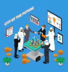 Arab city of future isometric composition vector