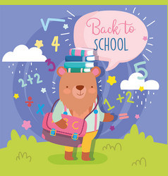 Back to school cute bear with bag books education vector