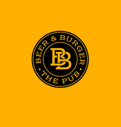 bb letters beer and burger pub emblem vector image