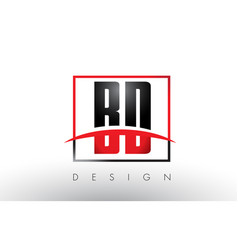bd b d logo letters with red and black colors and vector image