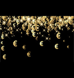 black background with euro signs vector image