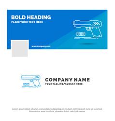 Blue business logo template for gun handgun vector