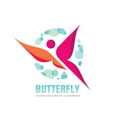 butterfly logo template beauty salon vector image