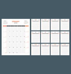 Calendar planner for 2018 year week starts on vector