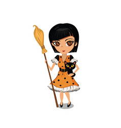 cartoon girl dressed in a witch costume vector image