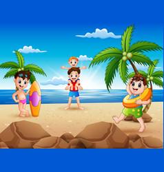 cartoon happy family playing on beach vector image