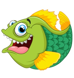 Cartoon of green piranha vector