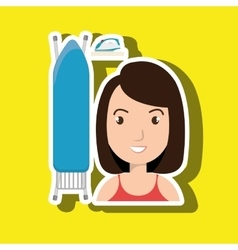 cartoon woman board ironing clothes vector image