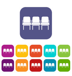 Chairs in departure hall icons set vector