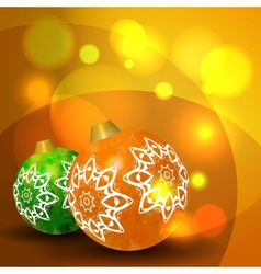 Christmas balls on abstract bokeh background vector image