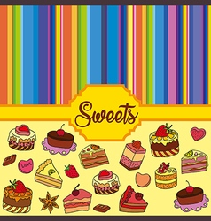 Colorful background with sweets vector image