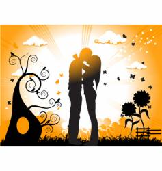 Couple kissing sunset vector