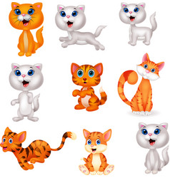 cute cats cartoon collection set vector image