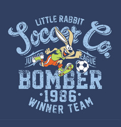 cute little rabbit soccer junior league vector image