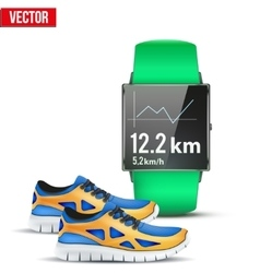 Design example sport wrist smartwatch for run vector