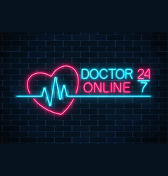 doctor online glowing neon logo on dark brick vector image