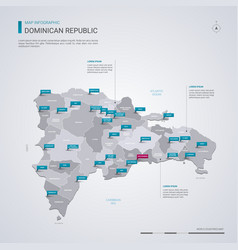 dominican republic map with infographic elements vector image