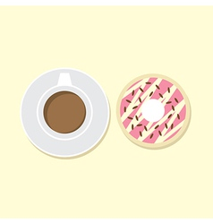 Donut And Hot Coffee vector image