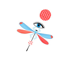 dragonfly graph and eye vector image