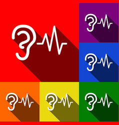 ear hearing sound sign set of icons with vector image